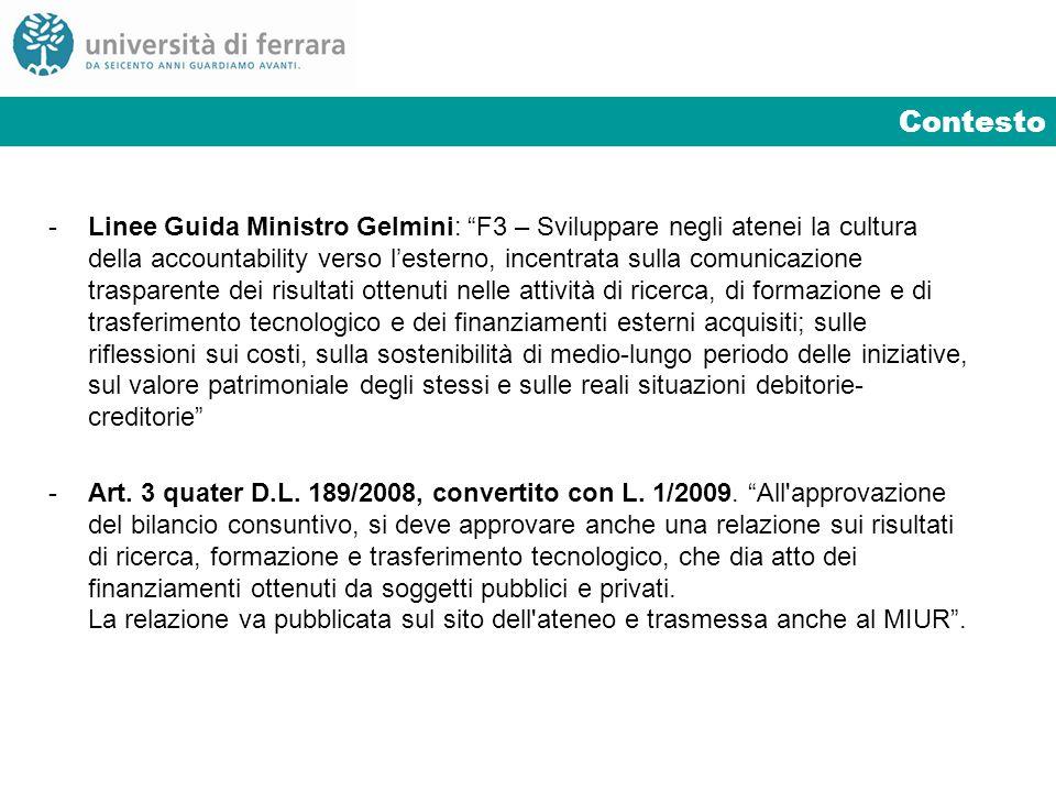 Contesto - Linee Guida Ministro Gelmini: F3 – Sviluppare negli atenei la cultura della accountability verso lesterno, incentrata sulla comunicazione t