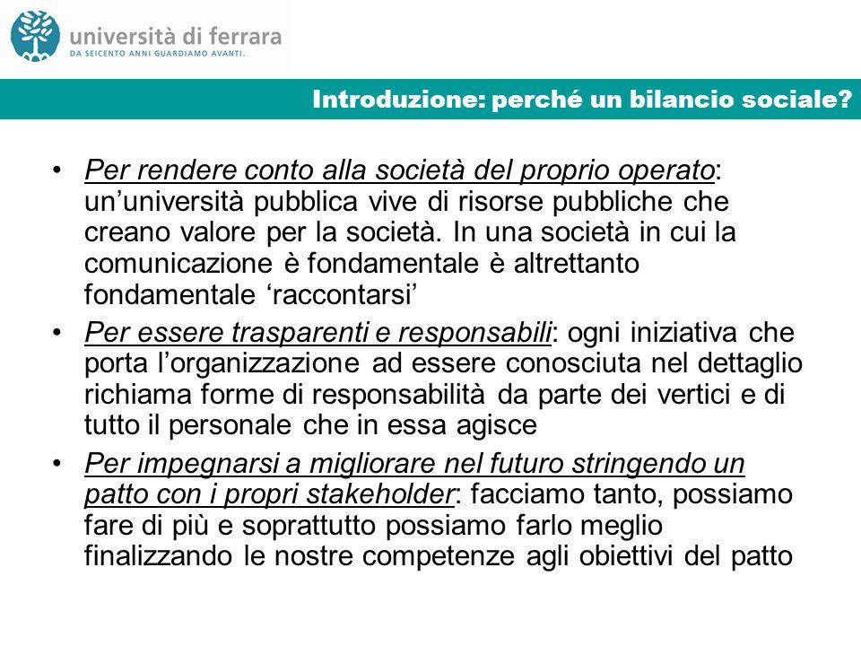 Introduzione: perché un bilancio sociale? Per rendere conto alla società del proprio operato: ununiversità pubblica vive di risorse pubbliche che crea
