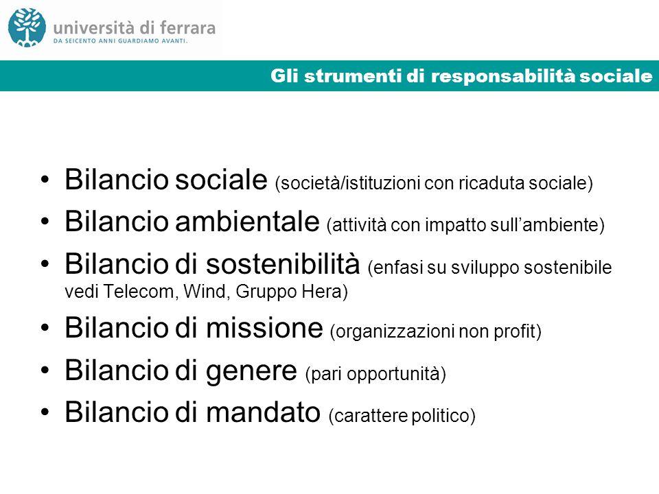 Gli strumenti di responsabilità sociale Bilancio sociale (società/istituzioni con ricaduta sociale) Bilancio ambientale (attività con impatto sullambi