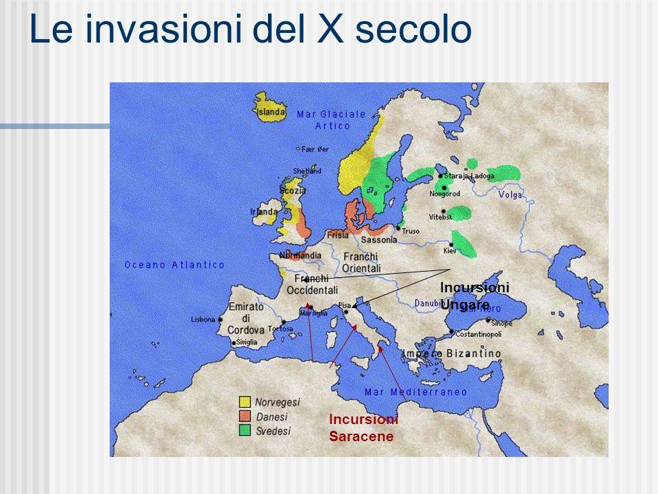 Le invasioni del X secolo Incursioni Saracene Incursioni Ungare