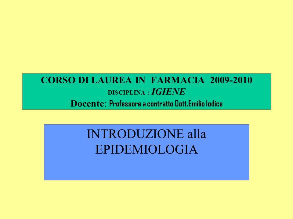 CORSO DI LAUREA IN FARMACIA 2009-2010 DISCIPLINA : IGIENE Docente: Professore a contratto Dott.Emilio Iodice INTRODUZIONE alla EPIDEMIOLOGIA