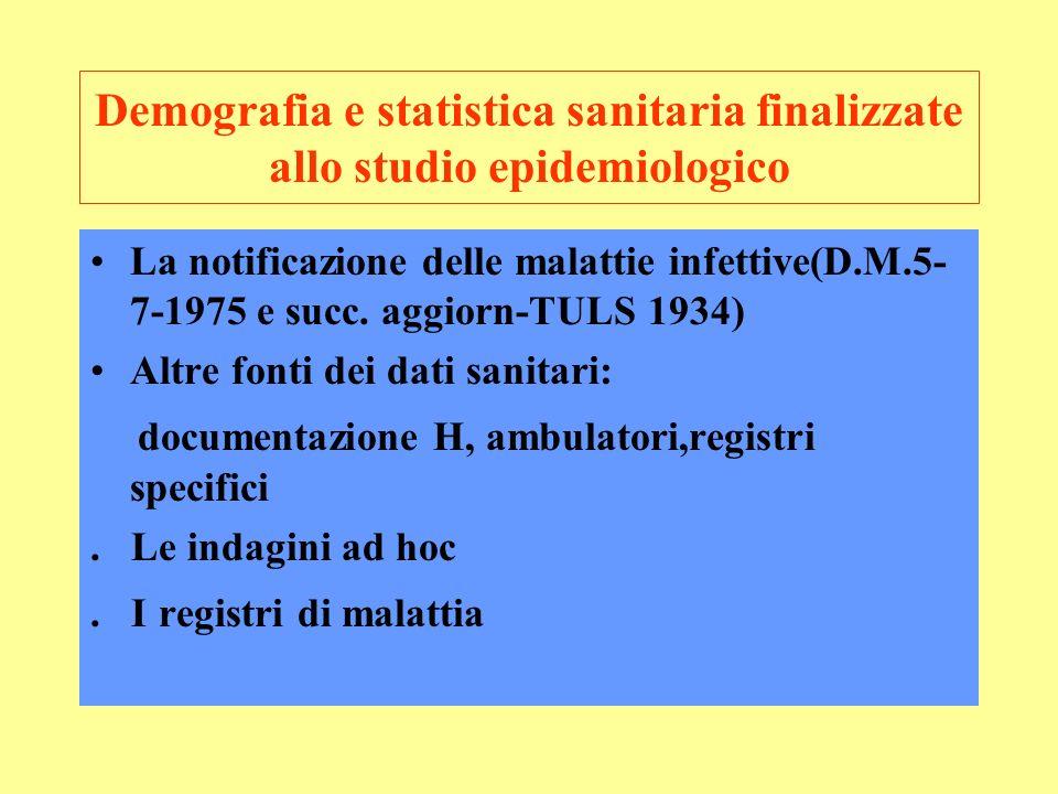 Demografia e statistica sanitaria finalizzate allo studio epidemiologico La notificazione delle malattie infettive(D.M.5- 7-1975 e succ.