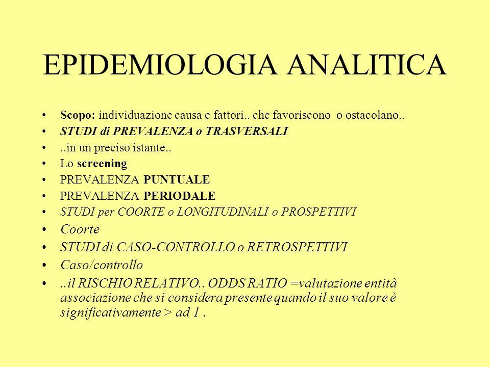 EPIDEMIOLOGIA ANALITICA Scopo: individuazione causa e fattori..