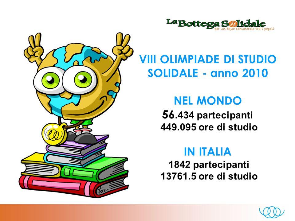 VIII OLIMPIADE DI STUDIO SOLIDALE - anno 2010 NEL MONDO 56.434 partecipanti 449.095 ore di studio IN ITALIA 1842 partecipanti 13761.5 ore di studio