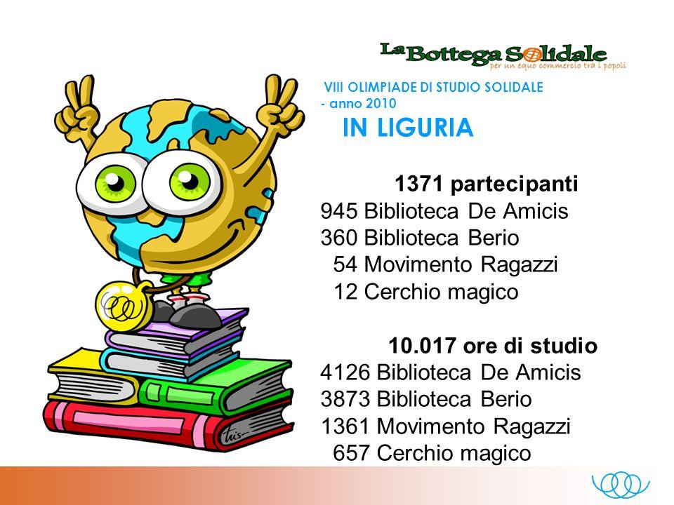 VIII OLIMPIADE DI STUDIO SOLIDALE - anno 2010 RISPETTO AL 2009 un aumento di: - 3 sale studio - 4253.5 ore - 844 persone