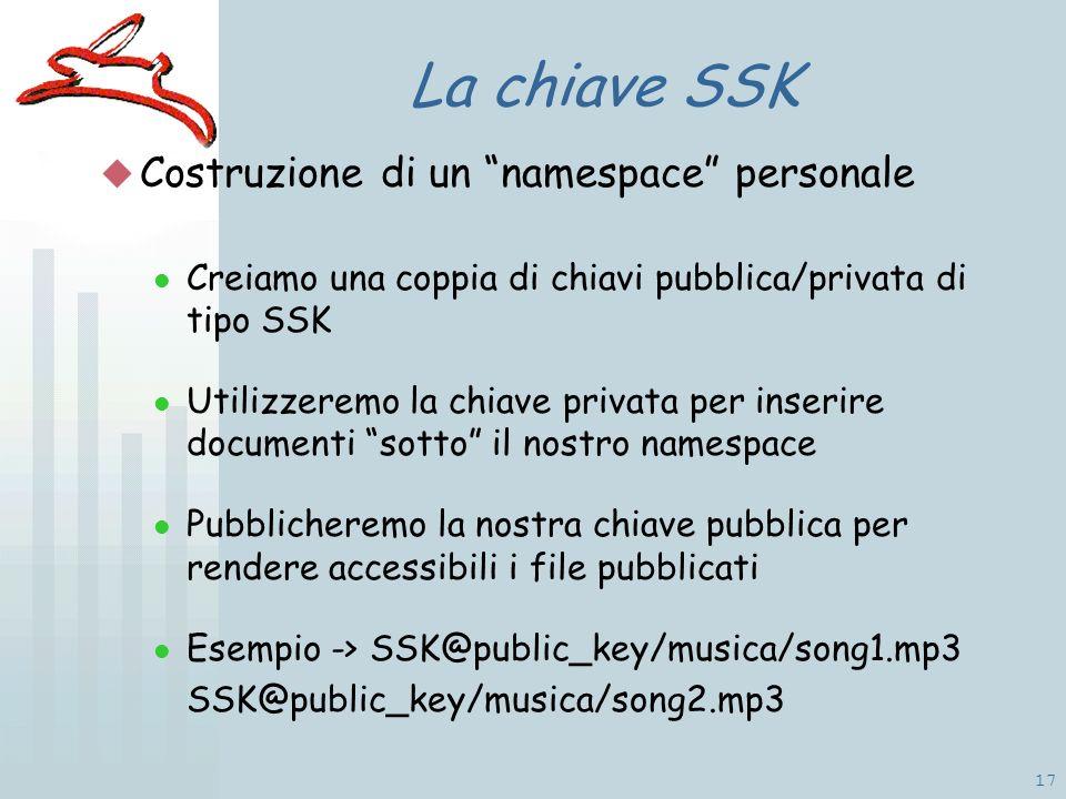 17 La chiave SSK Costruzione di un namespace personale Creiamo una coppia di chiavi pubblica/privata di tipo SSK Utilizzeremo la chiave privata per inserire documenti sotto il nostro namespace Pubblicheremo la nostra chiave pubblica per rendere accessibili i file pubblicati Esempio -> SSK@public_key/musica/song1.mp3 SSK@public_key/musica/song2.mp3