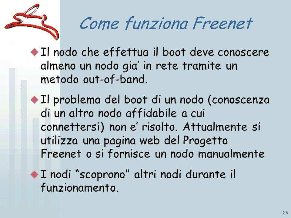 24 Come funziona Freenet Il nodo che effettua il boot deve conoscere almeno un nodo gia in rete tramite un metodo out-of-band.