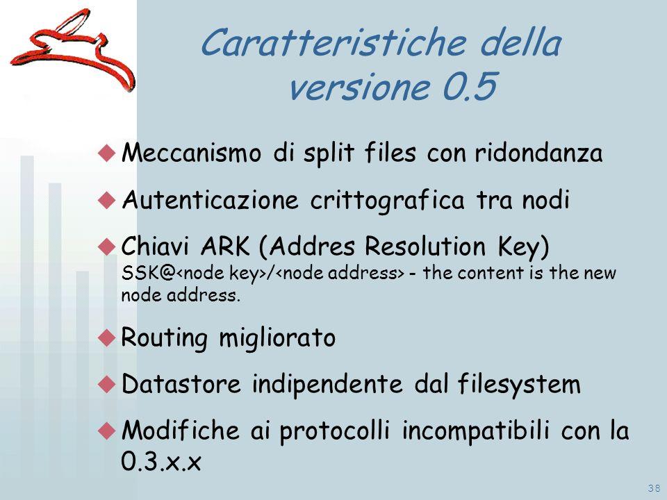38 Caratteristiche della versione 0.5 Meccanismo di split files con ridondanza Autenticazione crittografica tra nodi Chiavi ARK (Addres Resolution Key) SSK@ / - the content is the new node address.