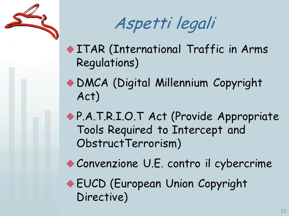 52 Aspetti legali ITAR (International Traffic in Arms Regulations) DMCA (Digital Millennium Copyright Act) P.A.T.R.I.O.T Act (Provide Appropriate Tools Required to Intercept and ObstructTerrorism) Convenzione U.E.