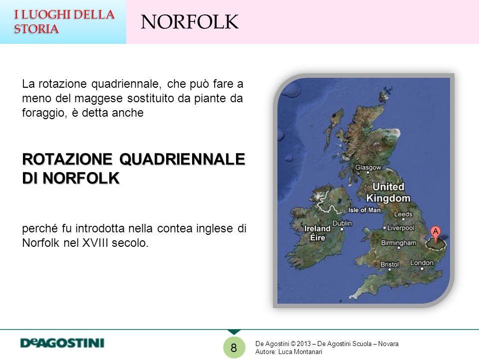 La rotazione quadriennale, che può fare a meno del maggese sostituito da piante da foraggio, è detta anche ROTAZIONE QUADRIENNALE DI NORFOLK perché fu introdotta nella contea inglese di Norfolk nel XVIII secolo.