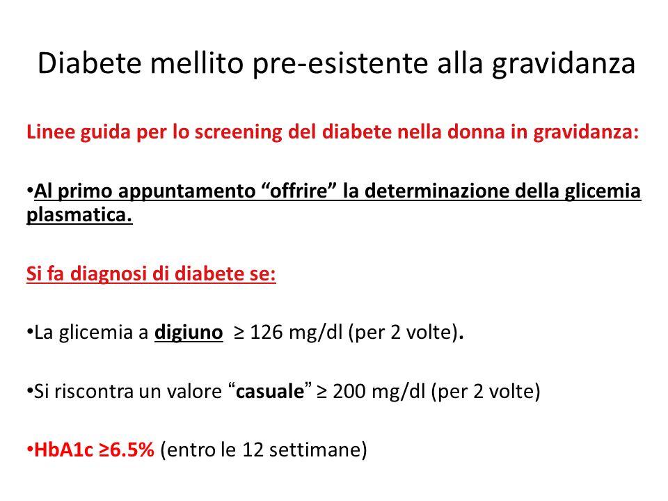 Diabete mellito pre-esistente alla gravidanza Linee guida per lo screening del diabete nella donna in gravidanza: Al primo appuntamento offrire la determinazione della glicemia plasmatica.
