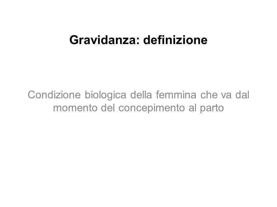 Gravidanza: definizione Condizione biologica della femmina che va dal momento del concepimento al parto