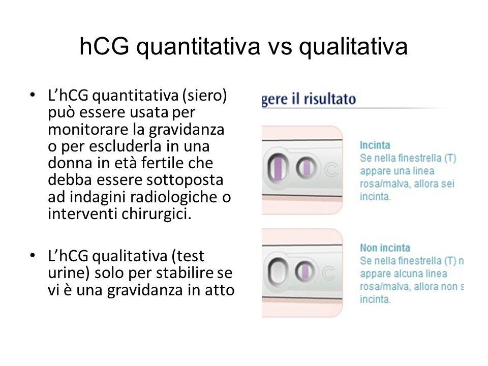 hCG quantitativa vs qualitativa LhCG quantitativa (siero) può essere usata per monitorare la gravidanza o per escluderla in una donna in età fertile che debba essere sottoposta ad indagini radiologiche o interventi chirurgici.