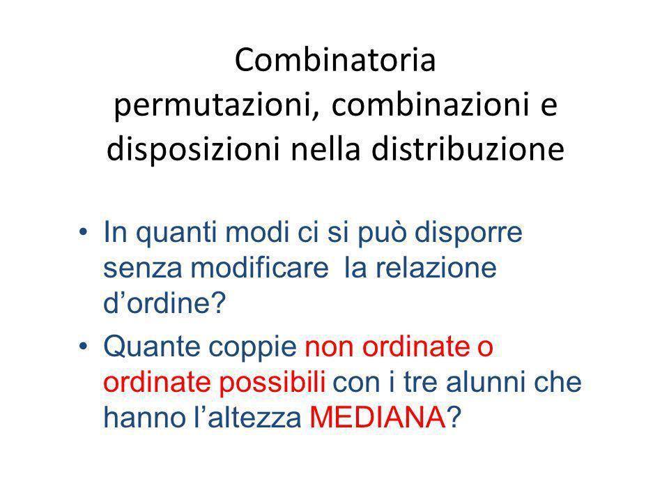 Combinatoria permutazioni, combinazioni e disposizioni nella distribuzione In quanti modi ci si può disporre senza modificare la relazione dordine? Qu