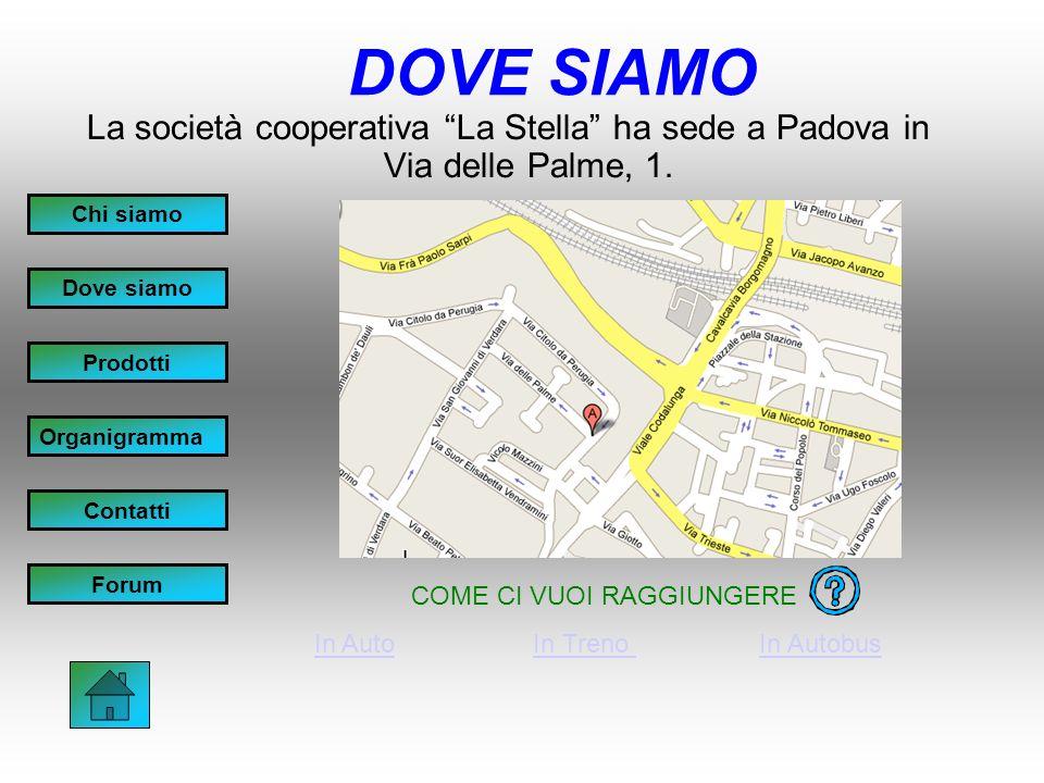 DOVE SIAMO La società cooperativa La Stella ha sede a Padova in Via delle Palme, 1.