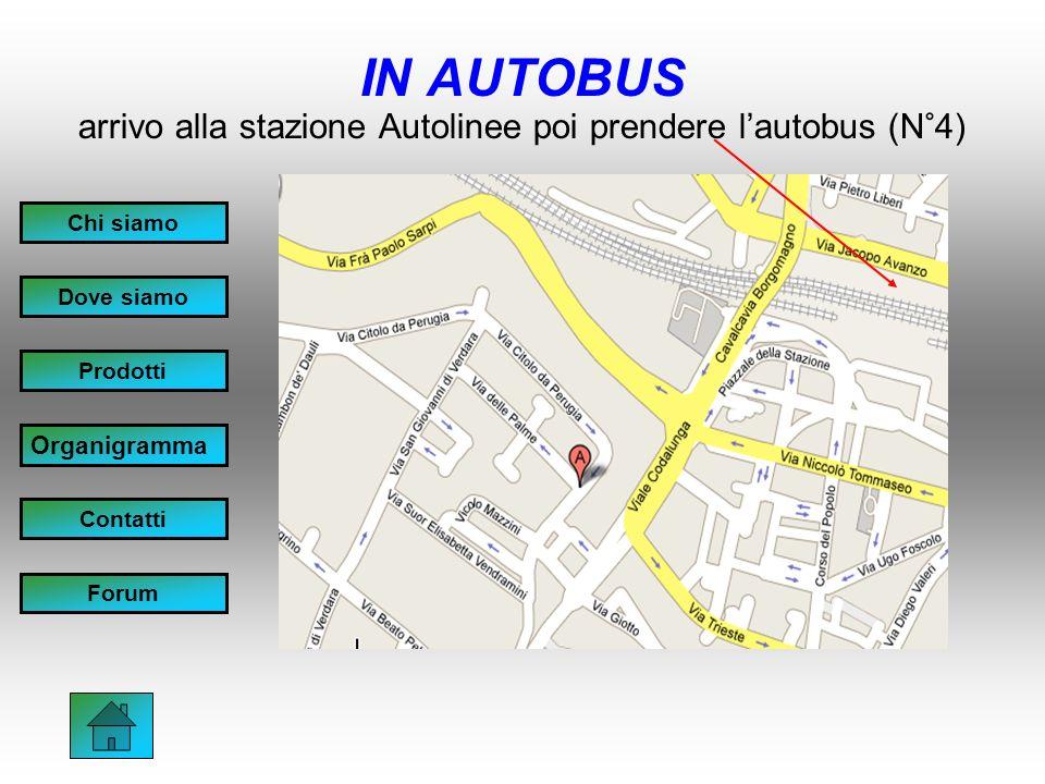 IN AUTOBUS arrivo alla stazione Autolinee poi prendere lautobus (N°4) Chi siamo Dove siamo Prodotti Organigramma Contatti Forum