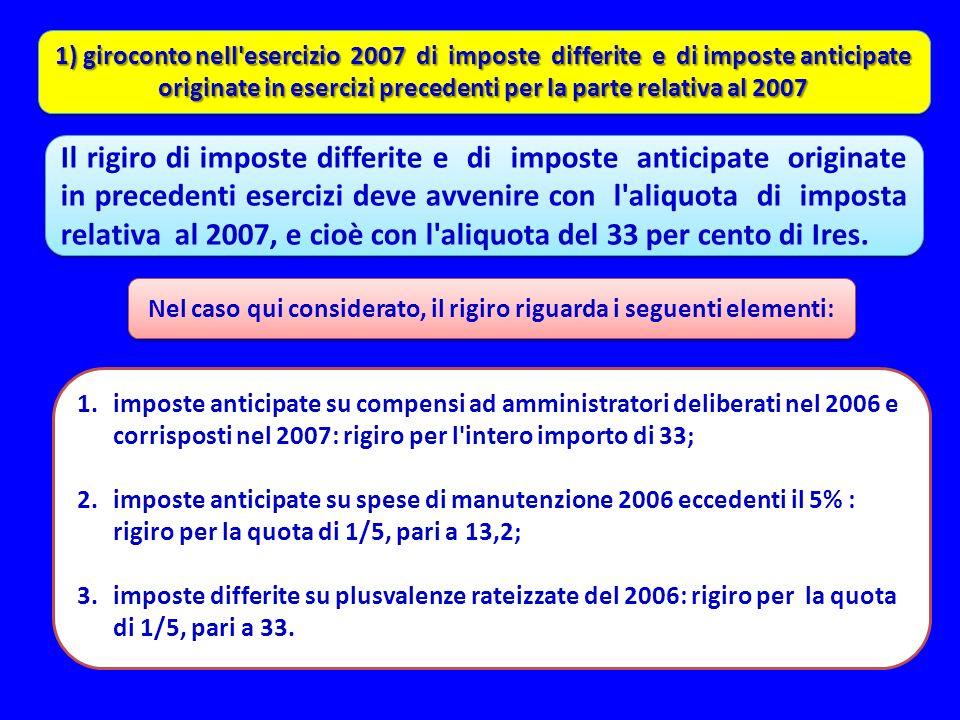 1) giroconto nell'esercizio 2007 di imposte differite e di imposte anticipate originate in esercizi precedenti per la parte relativa al 2007 Il rigiro