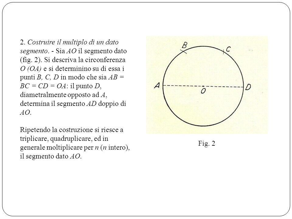 2. Costruire il multiplo di un dato segmento. - Sia AO il segmento dato (fig. 2). Si descriva la circonferenza O (OA) e si determinino su di essa i pu