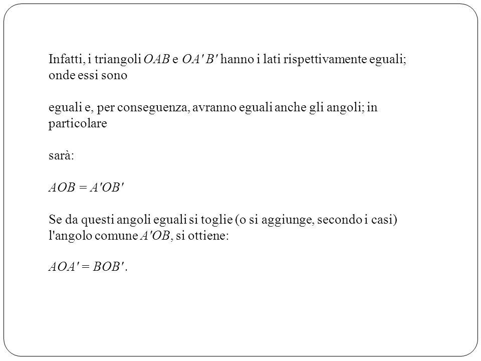 Infatti, i triangoli OAB e OA' B' hanno i lati rispettivamente eguali; onde essi sono eguali e, per conseguenza, avranno eguali anche gli angoli; in p