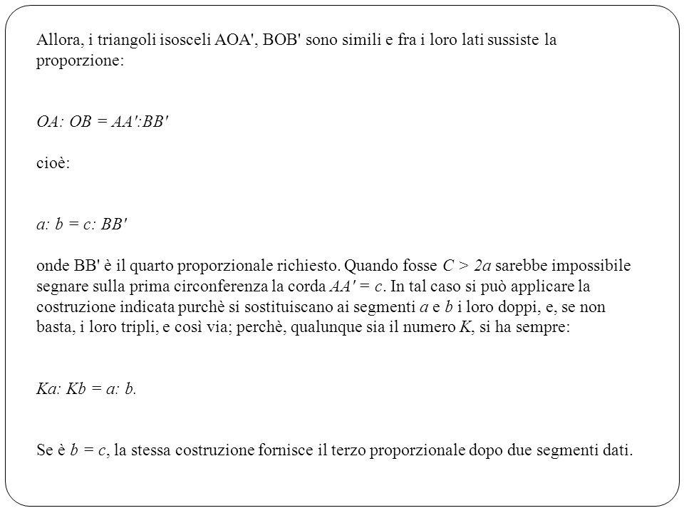 Allora, i triangoli isosceli AOA', BOB' sono simili e fra i loro lati sussiste la proporzione: OA: OB = AA':BB' cioè: a: b = c: BB' onde BB' è il quar