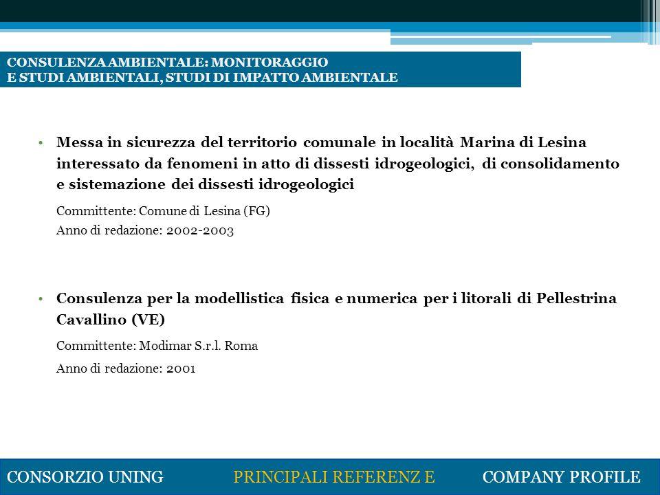 Elaborazione e Pianificazione delle aree naturali protette in provincia di Bari – Area A3 – Foce Ofanto Committente Provincia di Bari ( in associazione temporanea con altri professionisti) (2001).