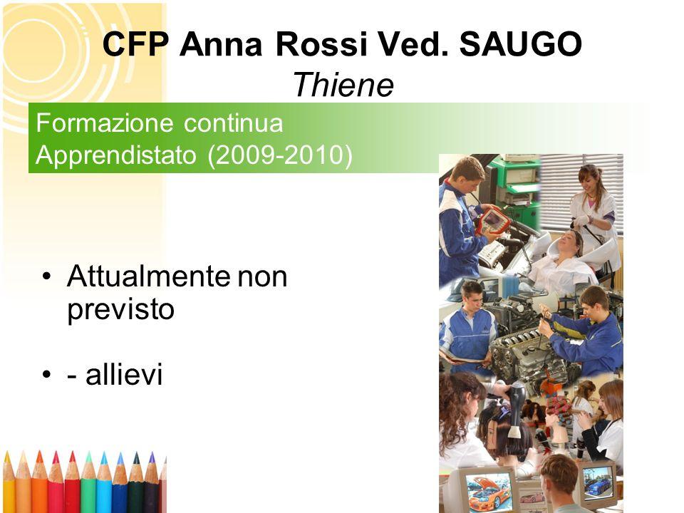 Attualmente non previsto - allievi Formazione continua Apprendistato (2009-2010) CFP Anna Rossi Ved. SAUGO Thiene