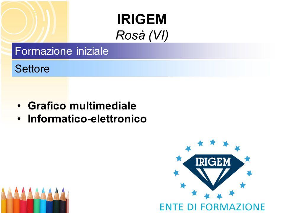 IRIGEM Rosà (VI) Grafico multimediale Informatico-elettronico Settore Formazione iniziale