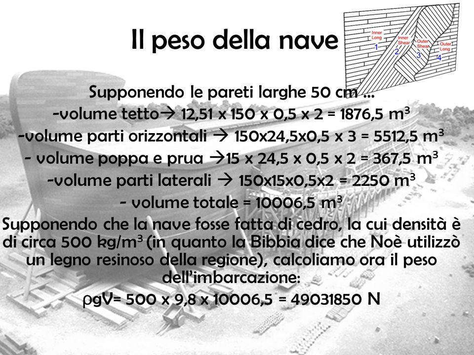 Il peso della nave Supponendo le pareti larghe 50 cm … -volume tetto 12,51 x 150 x 0,5 x 2 = 1876,5 m 3 -volume parti orizzontali 150x24,5x0,5 x 3 = 5