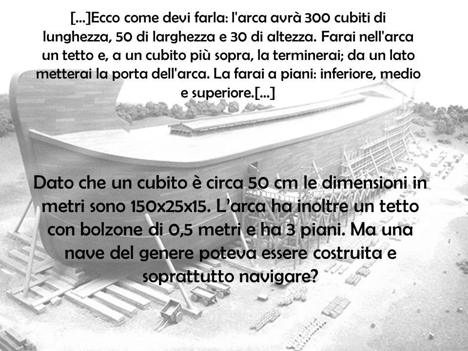 […]Ecco come devi farla: l'arca avrà 300 cubiti di lunghezza, 50 di larghezza e 30 di altezza. Farai nell'arca un tetto e, a un cubito più sopra, la t
