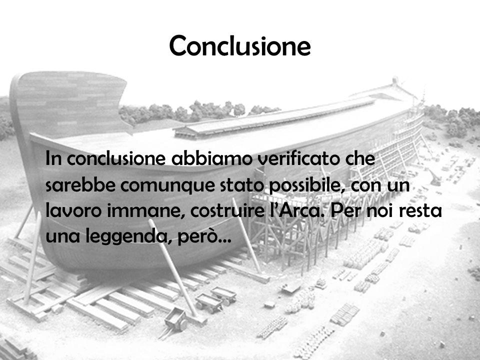 Conclusione In conclusione abbiamo verificato che sarebbe comunque stato possibile, con un lavoro immane, costruire lArca. Per noi resta una leggenda,