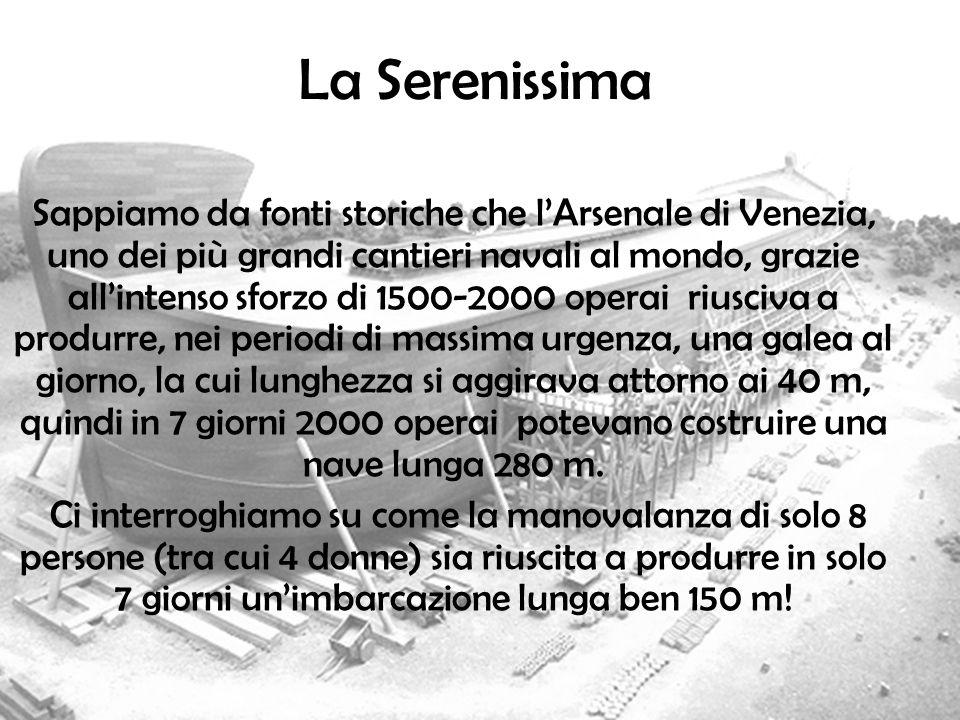 La Serenissima Sappiamo da fonti storiche che lArsenale di Venezia, uno dei più grandi cantieri navali al mondo, grazie allintenso sforzo di 1500-2000