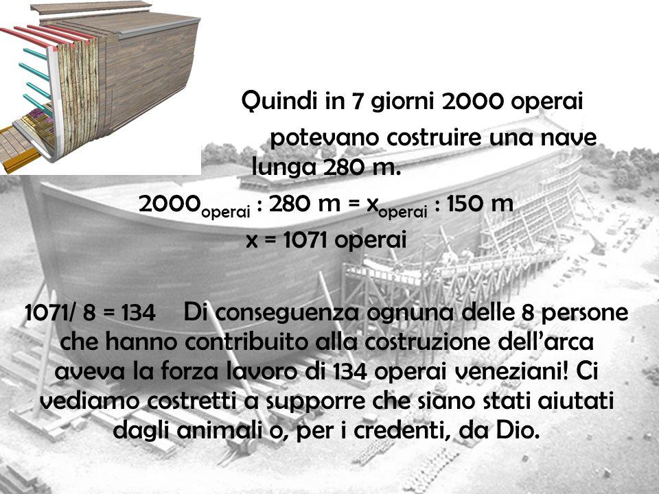 Quindi in 7 giorni 2000 operai potevano costruire una nave lunga 280 m. 2000 operai : 280 m = x operai : 150 m x = 1071 operai 1071/ 8 = 134 Di conseg