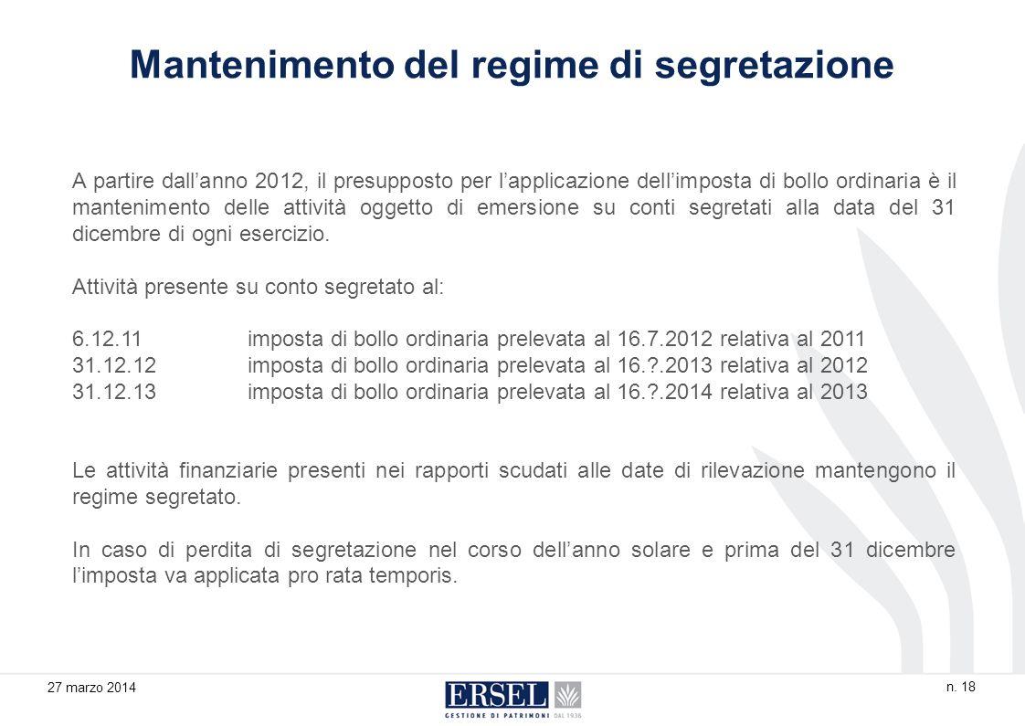 A partire dallanno 2012, il presupposto per lapplicazione dellimposta di bollo ordinaria è il mantenimento delle attività oggetto di emersione su conti segretati alla data del 31 dicembre di ogni esercizio.