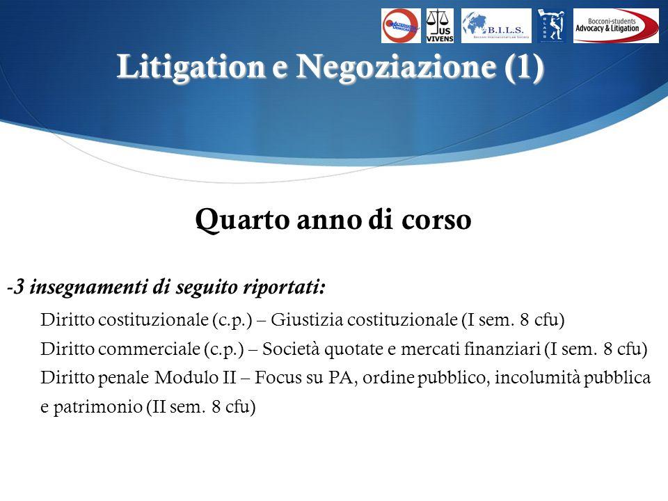 Litigation e Negoziazione (1) Quarto anno di corso -3 insegnamenti di seguito riportati: Diritto costituzionale (c.p.) – Giustizia costituzionale (I sem.