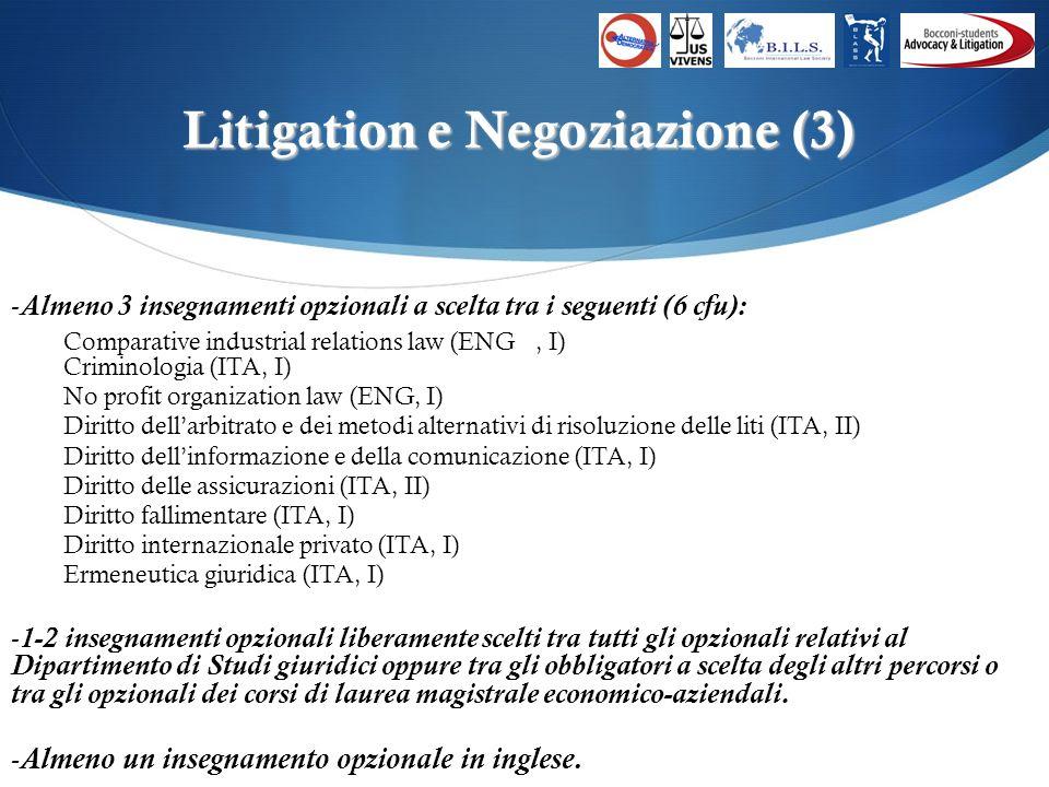 Litigation e Negoziazione (3) -Almeno 3 insegnamenti opzionali a scelta tra i seguenti (6 cfu): Comparative industrial relations law (ENG, I) Criminologia (ITA, I) No profit organization law (ENG, I) Diritto dellarbitrato e dei metodi alternativi di risoluzione delle liti (ITA, II) Diritto dellinformazione e della comunicazione (ITA, I) Diritto delle assicurazioni (ITA, II) Diritto fallimentare (ITA, I) Diritto internazionale privato (ITA, I) Ermeneutica giuridica (ITA, I) -1-2 insegnamenti opzionali liberamente scelti tra tutti gli opzionali relativi al Dipartimento di Studi giuridici oppure tra gli obbligatori a scelta degli altri percorsi o tra gli opzionali dei corsi di laurea magistrale economico-aziendali.