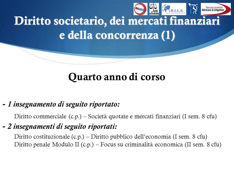 Diritto societario, dei mercati finanziari e della concorrenza (1) Quarto anno di corso - 1 insegnamento di seguito riportato: Diritto commerciale (c.p.) – Società quotate e mercati finanziari (I sem.