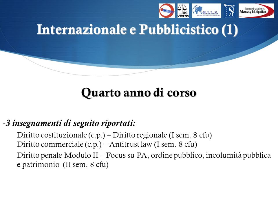C ONTATTI E-mail: asb.alternativademocratica@unibocconi.it Facebook: /alternativa.democratica Twitter: @ADatBocconi E-mail: as.bils@unibocconi.it Sito internet: www.bils-society.com Facebook: /BilsBocconiInternationalLawSociety E-mail: as.jusvivens@unibocconi.it Facebook: /JusVivens E-mail: as.blass@unibocconi.it Facebook: /BocconiLawAndSportsStudents Twitter: @BlassBocconi E-mail: as.bal@unibocconi.it Facebook: /BocconistudentsAdvocacyLitigation