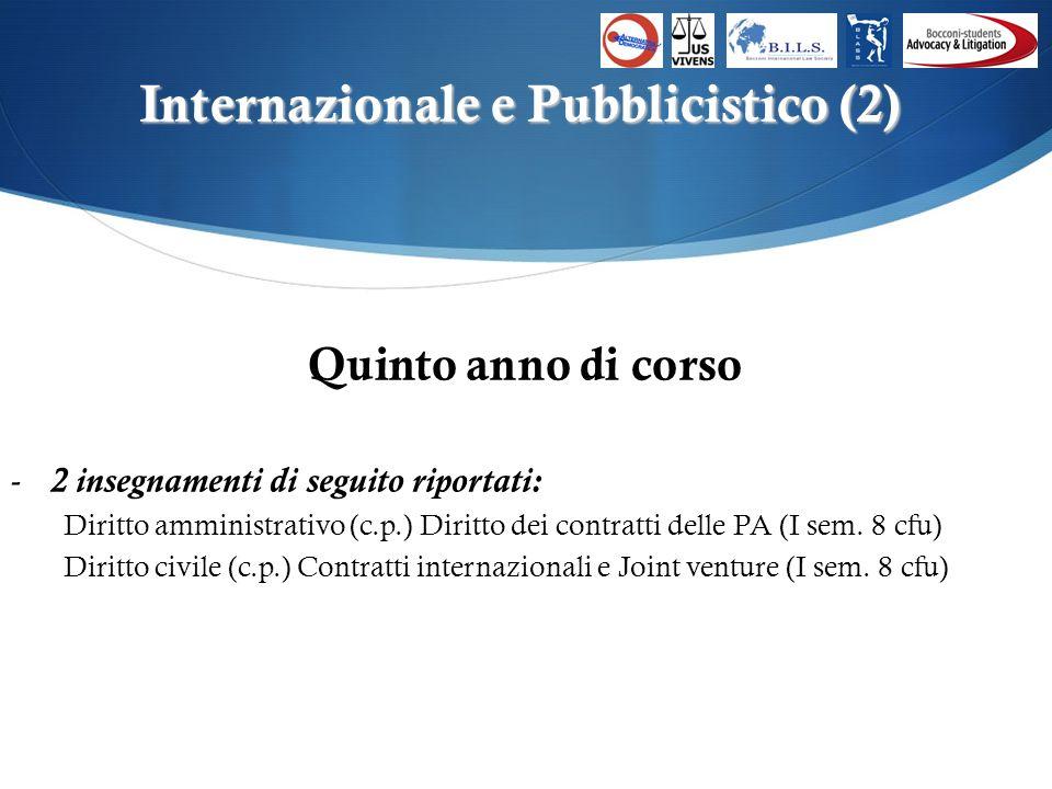Internazionale e Pubblicistico (2) Quinto anno di corso -2 insegnamenti di seguito riportati: Diritto amministrativo (c.p.) Diritto dei contratti delle PA (I sem.