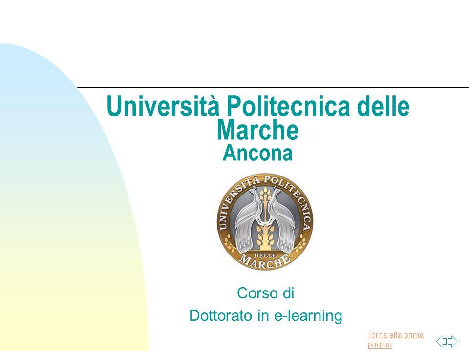 Torna alla prima pagina Università Politecnica delle Marche Ancona Corso di Dottorato in e-learning