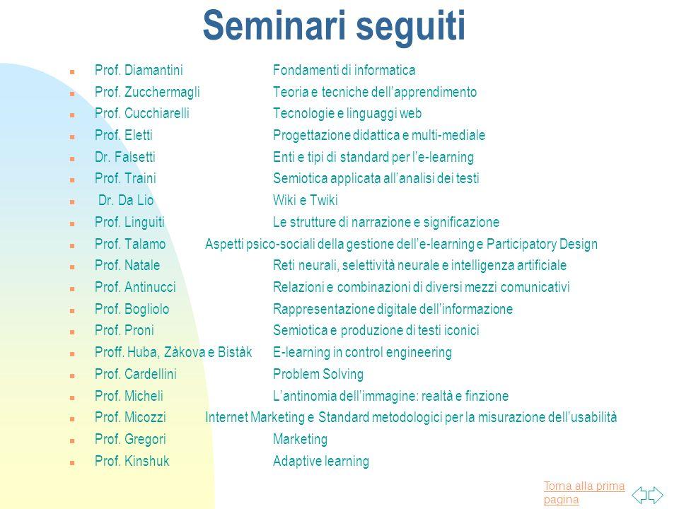 Torna alla prima pagina Seminari seguiti n Prof. DiamantiniFondamenti di informatica n Prof.