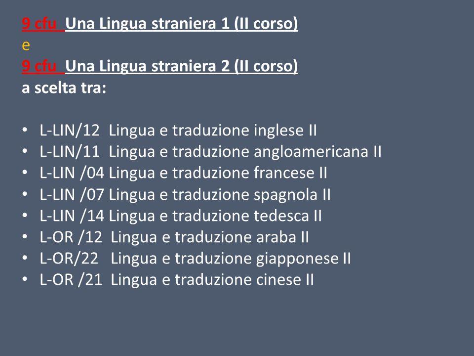9 cfu Una Lingua straniera 1 (II corso) e 9 cfu Una Lingua straniera 2 (II corso) a scelta tra: L-LIN/12 Lingua e traduzione inglese II L-LIN/11 Lingu