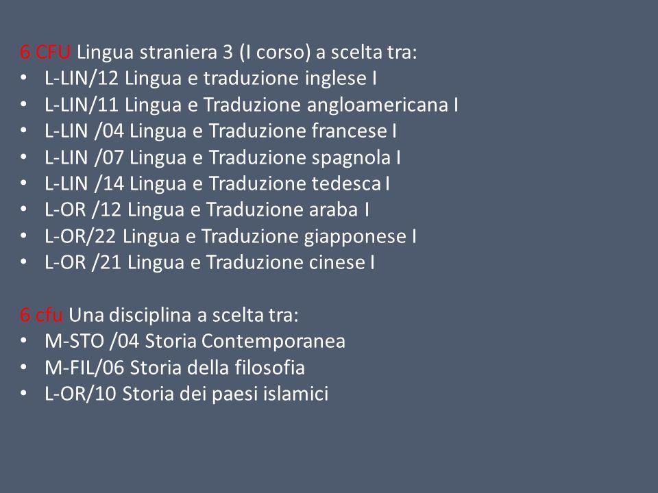 6 CFU Lingua straniera 3 (I corso) a scelta tra: L-LIN/12 Lingua e traduzione inglese I L-LIN/11 Lingua e Traduzione angloamericana I L-LIN /04 Lingua