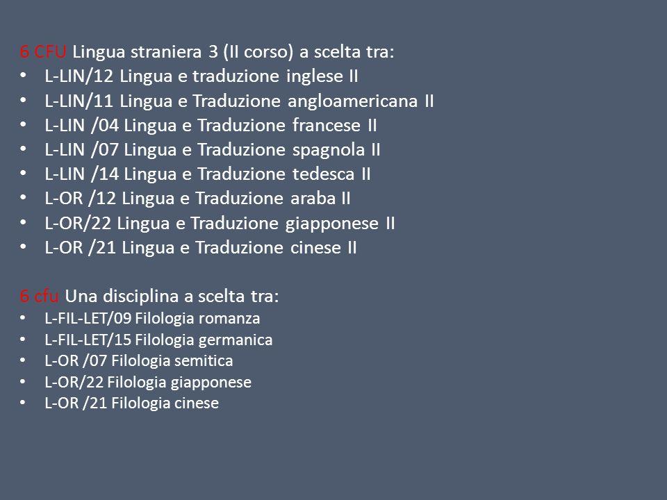 6 CFU Lingua straniera 3 (II corso) a scelta tra: L-LIN/12 Lingua e traduzione inglese II L-LIN/11 Lingua e Traduzione angloamericana II L-LIN /04 Lin