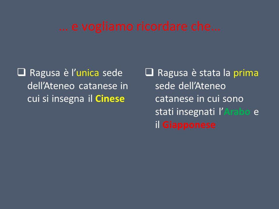 … e vogliamo ricordare che… Ragusa è lunica sede dellAteneo catanese in cui si insegna il Cinese Ragusa è stata la prima sede dellAteneo catanese in c