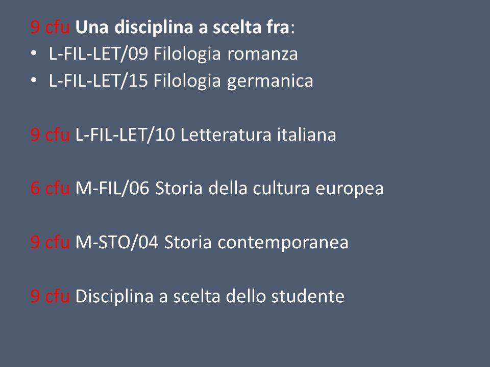 9 cfu Una disciplina a scelta fra: L-FIL-LET/09 Filologia romanza L-FIL-LET/15 Filologia germanica 9 cfu L-FIL-LET/10 Letteratura italiana 6 cfu M-FIL