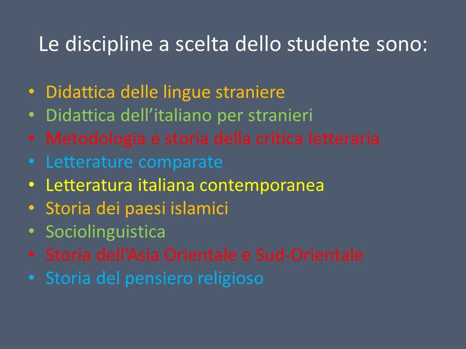 Le discipline a scelta dello studente sono: Didattica delle lingue straniere Didattica dellitaliano per stranieri Metodologia e storia della critica l