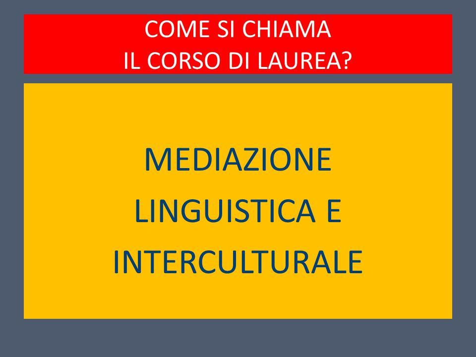 COME SI CHIAMA IL CORSO DI LAUREA? MEDIAZIONE LINGUISTICA E INTERCULTURALE