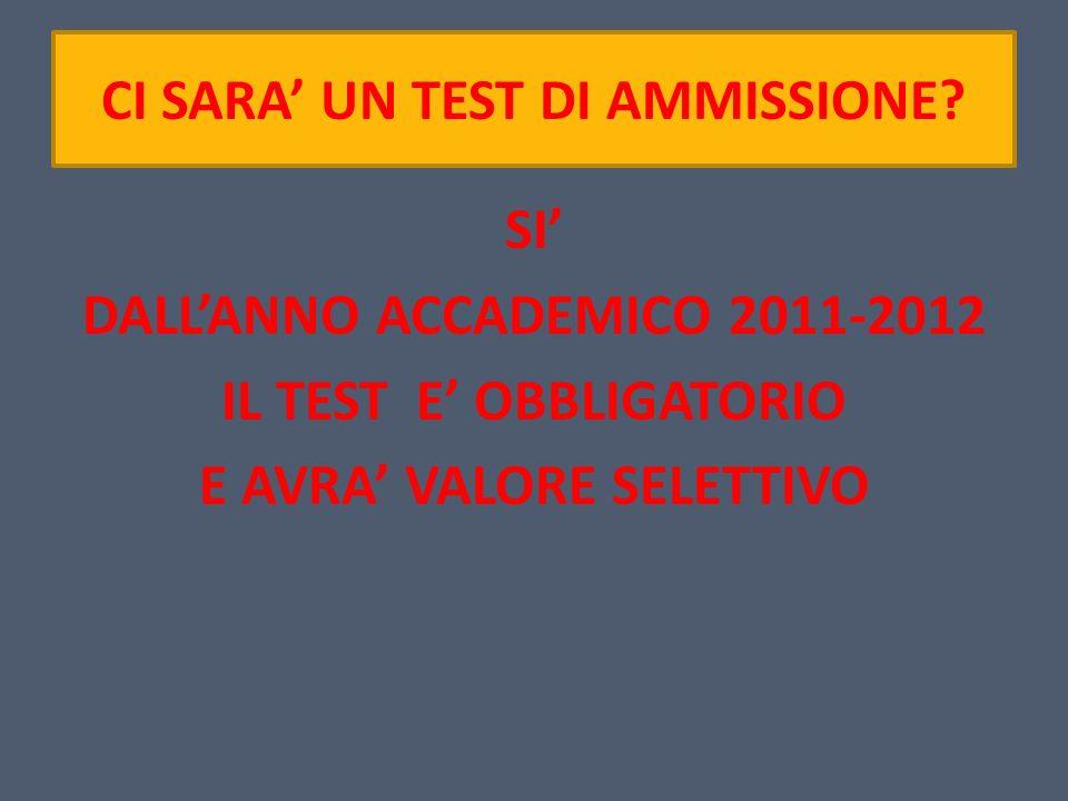CI SARA UN TEST DI AMMISSIONE? SI DALLANNO ACCADEMICO 2011-2012 IL TEST E OBBLIGATORIO E AVRA VALORE SELETTIVO
