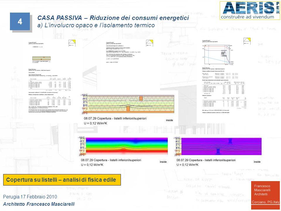 Copertura su listelli – analisi di fisica edile 4 4 CASA PASSIVA – Riduzione dei consumi energetici a) Linvolucro opaco e lisolamento termico Perugia