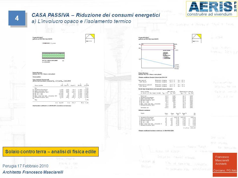 Solaio contro terra – analisi di fisica edile 4 4 CASA PASSIVA – Riduzione dei consumi energetici a) Linvolucro opaco e lisolamento termico Perugia 17